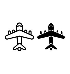 plain line and glyph icon aircraft vector image