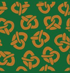 pretzels seamless pattern on green vector image
