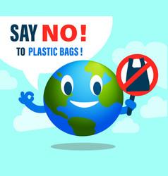 Say no to plastic bag environmental issues vector