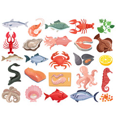 Seafood flat icons big set vector