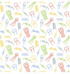 Seamless pattern from electrical components diode vector