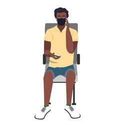 seating african young guy with medical face mask vector image