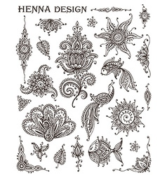 Set henna floral and animal elements based on vector