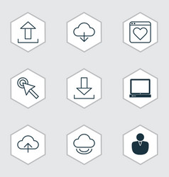 set of 9 web icons includes account virtual vector image