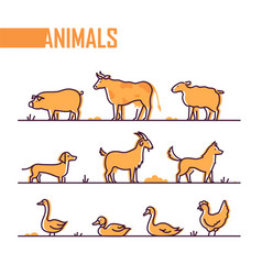 set of farm animals - line design style colorful vector image