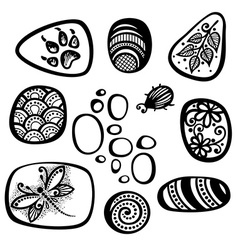 Set of pebble icons vector