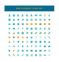set web element icons with flat color vector image