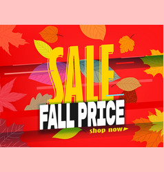 Shopping sale banner template fall price vector