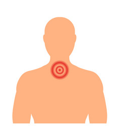 Silhouette of a man with a red throat sore throat vector