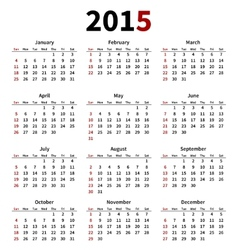 Simple 2015 year calendar on white background vector image