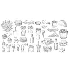 sketch fast food junk street fastfood meals set vector image