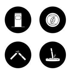 smoking glyph icons set vector image