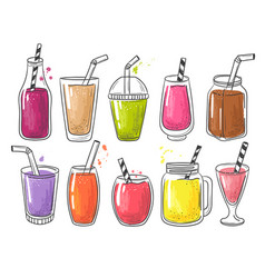 summer smoothie fruits cold healthy drinks vector image
