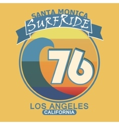 Surfing t-shirt graphic design Santa Monica vector