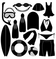 Swimming diving snorkeling aquatic equipment tool vector