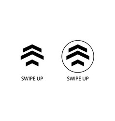 swipe up symbols two sign swipe up in black color vector image