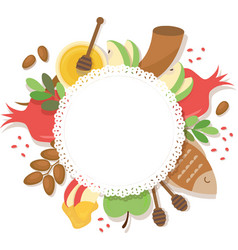 Symbols of jewish holiday rosh hashana new year vector
