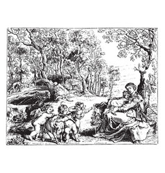 The flight into egypt is engraving by peter paul vector