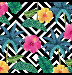 tropical palms with flowers and leaves background vector image