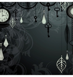 Vintage dark background with antique clocks and vector image