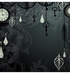 Vintage dark background with antique clocks vector