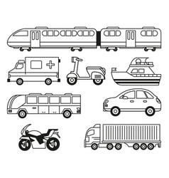 white background with monochrome set of vehicles vector image