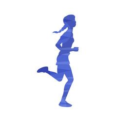 Woman running marathon or jogging abstract effect vector
