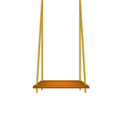 wooden swing hanging on ropes vector image