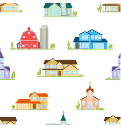 american houses churches and farm seamless vector image