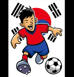 korean soccer player with flag background vector image vector image