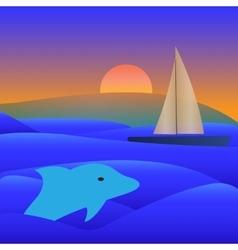 Sail Yacht Boat On See vector image
