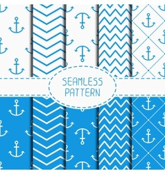 Set of blue marine geometric seamless pattern with vector image