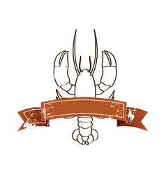 silhouette lobster with old ribbon vector image vector image