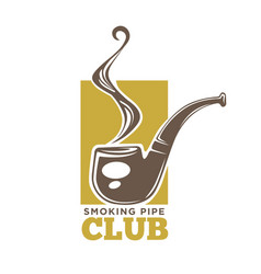 smoking pipe club colorful logotype isolated on vector image vector image