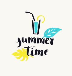 summer time modern hand drawn lettering phrase vector image vector image