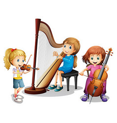 Three girls playing music vector image vector image