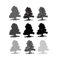 A set of nine trees on vector image
