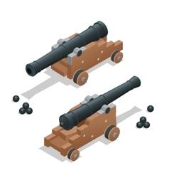 Ancient cannon with cannon balls Artillery gun vector image
