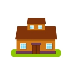 Brown Suburban House Exterior Design With Attic vector image vector image