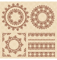 brown vintage ornaments and frames vector image vector image