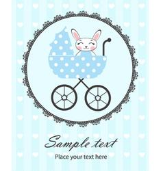 Bunny baby boy in frame vector image