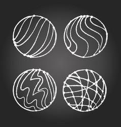 chalk abstract circles on chalkboard vector image vector image