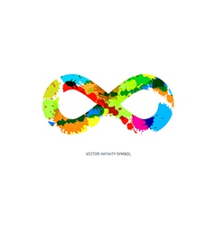Colorful Abstract Splash infinity symbol on White vector image