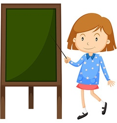 Little girl pointing at the board vector image