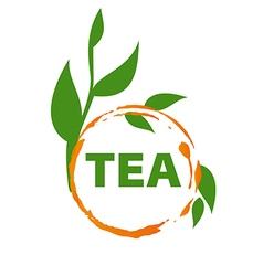 Logo imprint tea and green leaves vector