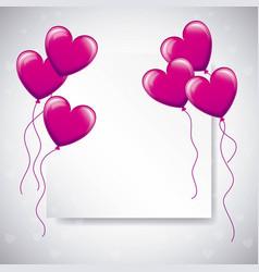 love balloons shaped heart flying tempalte design vector image