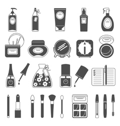 Makeup beauty accessories black icons set vector image vector image