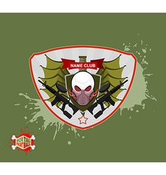 skull in paintball mask paintball guns Wings arms vector image