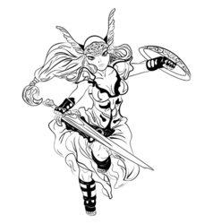 black and white sketch cartoon Valkyrie vector image vector image