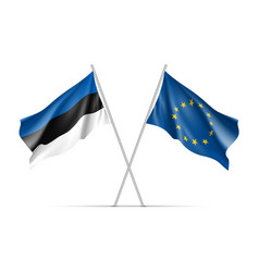 estonia and european union waving flags vector image vector image